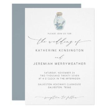 elegant beach seashell modern script wedding invitation