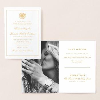 elegant beach seashell wedding invitation photo