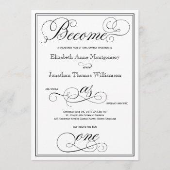 elegant become as one christian wedding invitation