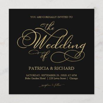 elegant black and gold foil script wedding invitation