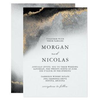 elegant black and gold marbled opulence wedding invitation