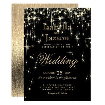 elegant black and gold starlights wedding invitation
