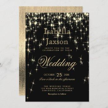 elegant black and gold starlights wedding invitation