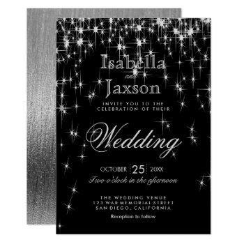 elegant black and silver starlights wedding invitation