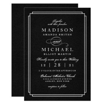 elegant black and white modern wedding invitation