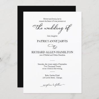 elegant black and white script classic wedding invitation