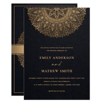 elegant black gold classic ornate mandala wedding invitation