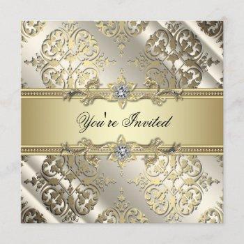 elegant black gold damask party invitation