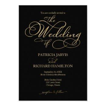 elegant black gold foil script wedding invitation