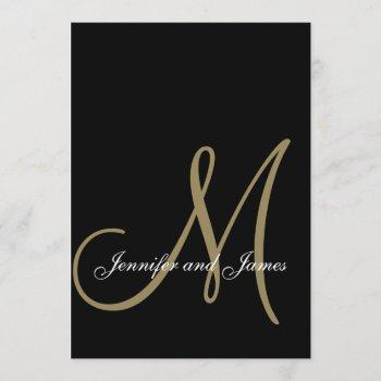 elegant black gold wedding invitations initial