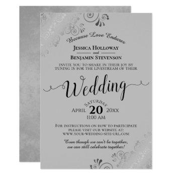elegant black on gray wedding livestream invitation