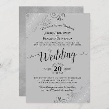 elegant black on gray wedding livestream invitation
