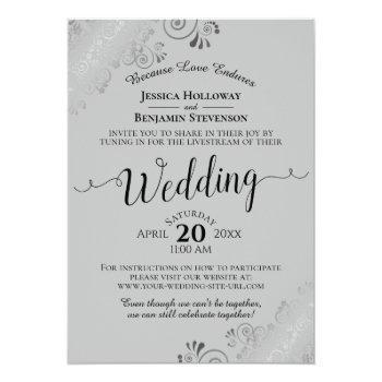Small Elegant Black On Gray Wedding Livestream Invitation Front View
