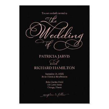 elegant black rose gold foil script wedding invitation