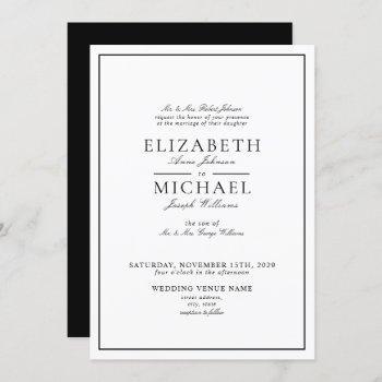 elegant black & white classic script wedding invitation