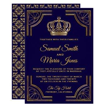 elegant blue gold ornate crown wedding invitation