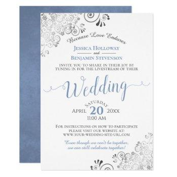 elegant blue & gray on white wedding livestream invitation