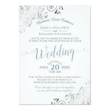 Small Elegant Blue & Gray On White Wedding Livestream Invitation Front View