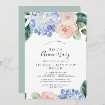 elegant blue hydrangea 50th wedding anniversary invitation