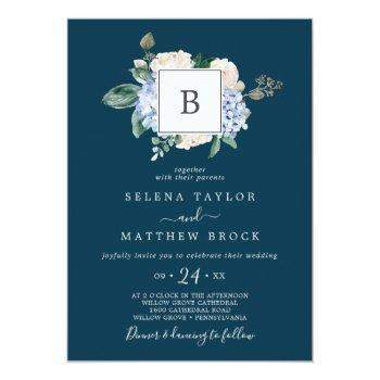 elegant blue hydrangea | navy monogram wedding invitation