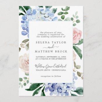 elegant blue hydrangea | white formal wedding invitation