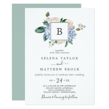 elegant blue hydrangea | white monogram wedding invitation