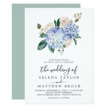 elegant blue hydrangea | white the wedding of invitation