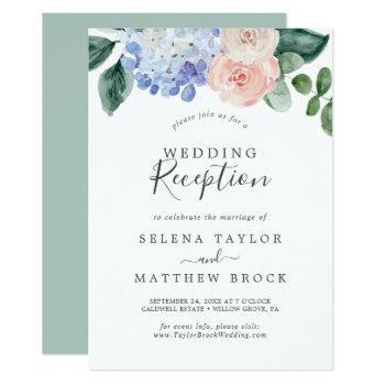 elegant blue hydrangea | white wedding reception invitation