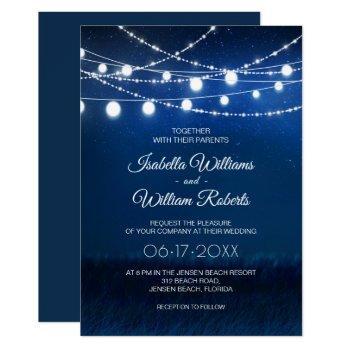 elegant blue night & silver string lights wedding invitation