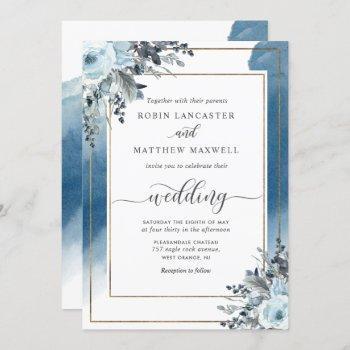 elegant blue watercolor and blue floral wedding invitation