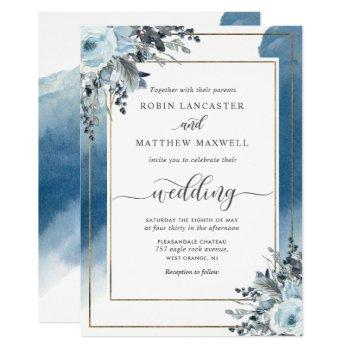 elegant blue watercolor and blue floral wedding invitation