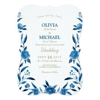 elegant blue watercolor floral chinoiserie wedding invitation