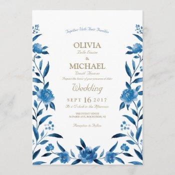 elegant blue watercolor floral chinoiserie wedding invitation
