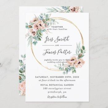 elegant blush floral greenery gold frame wedding invitation