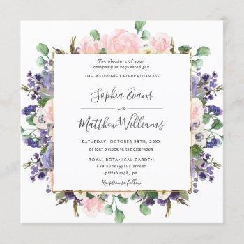 elegant blush lavender purple floral gold wedding invitation