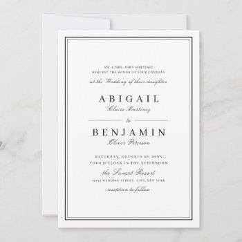 elegant borders black and white minimalist wedding invitation