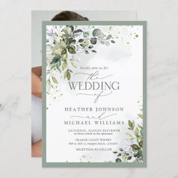 elegant botanical greenery floral watercolor photo invitation