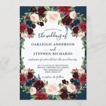elegant burgundy and navy floral wedding invitation