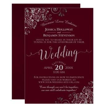 elegant burgundy and silver wedding livestream invitation
