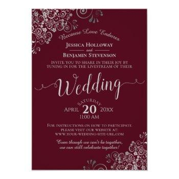 Small Elegant Burgundy And Silver Wedding Livestream Invitation Front View