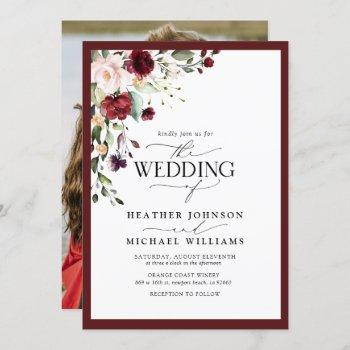 elegant burgundy blush floral watercolor photo invitation