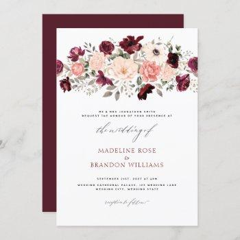 elegant burgundy blush floral wedding invitation