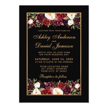 elegant burgundy floral black gold frame wedding invitation