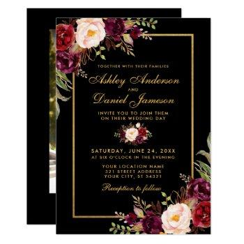 elegant burgundy floral black gold photo wedding invitation