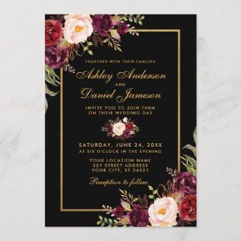 elegant burgundy floral black gold wedding invitation