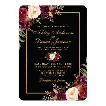 elegant burgundy floral black gold wedding r invitation