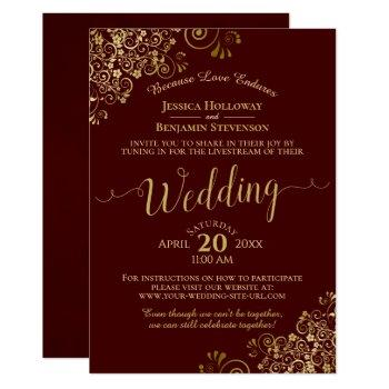 elegant burgundy & gold virtual wedding livestream invitation