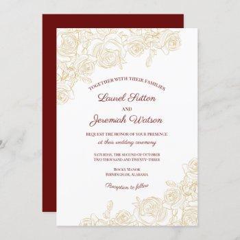 elegant burgundy & golden roses wedding invitation