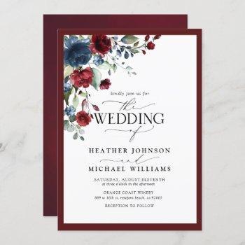 elegant burgundy & navy floral watercolor script invitation