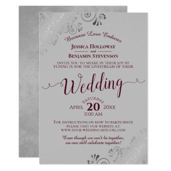 elegant burgundy on gray wedding livestream invitation